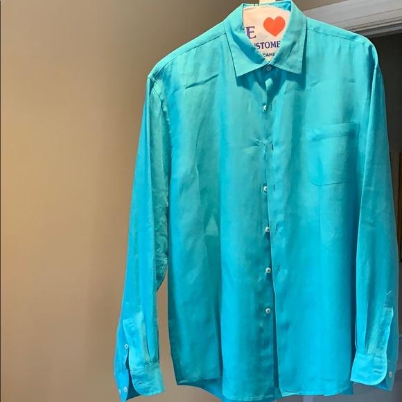 Joseph & Lyman Other - 100% turquoise linen long sleeve men's shirt